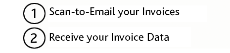 1) Scan-to-email your Invoices to ABUKAI, 2) Receive the finished Invoice Data
